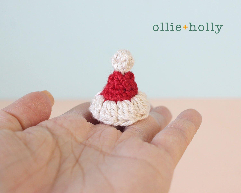 Christmas Holiday Santa Hat Amigurumi Crochet Ornament Decoration Finished