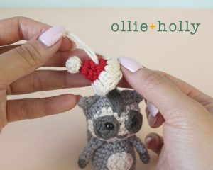 Christmas Holiday Toronto Raccoon Amigurumi Crochet Ornament Decoration With Santa Hat