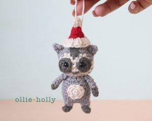 Christmas Holiday Toronto Raccoon Amigurumi Crochet Ornament Decoration With Santa Hat Complete
