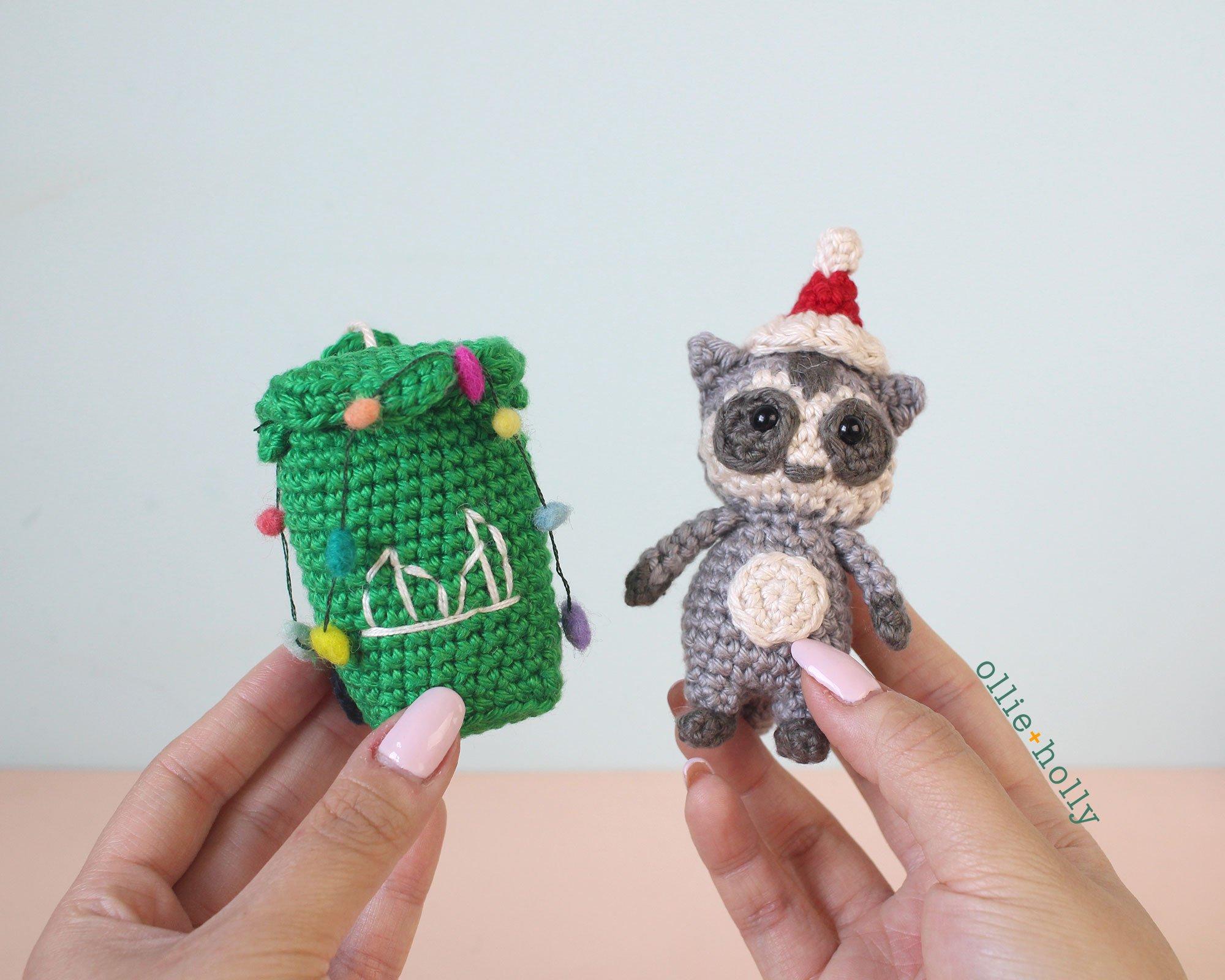 Christmas Holiday Toronto Raccoon and Toronto Garbage Green Bin Amigurumi Crochet Ornament Decoration