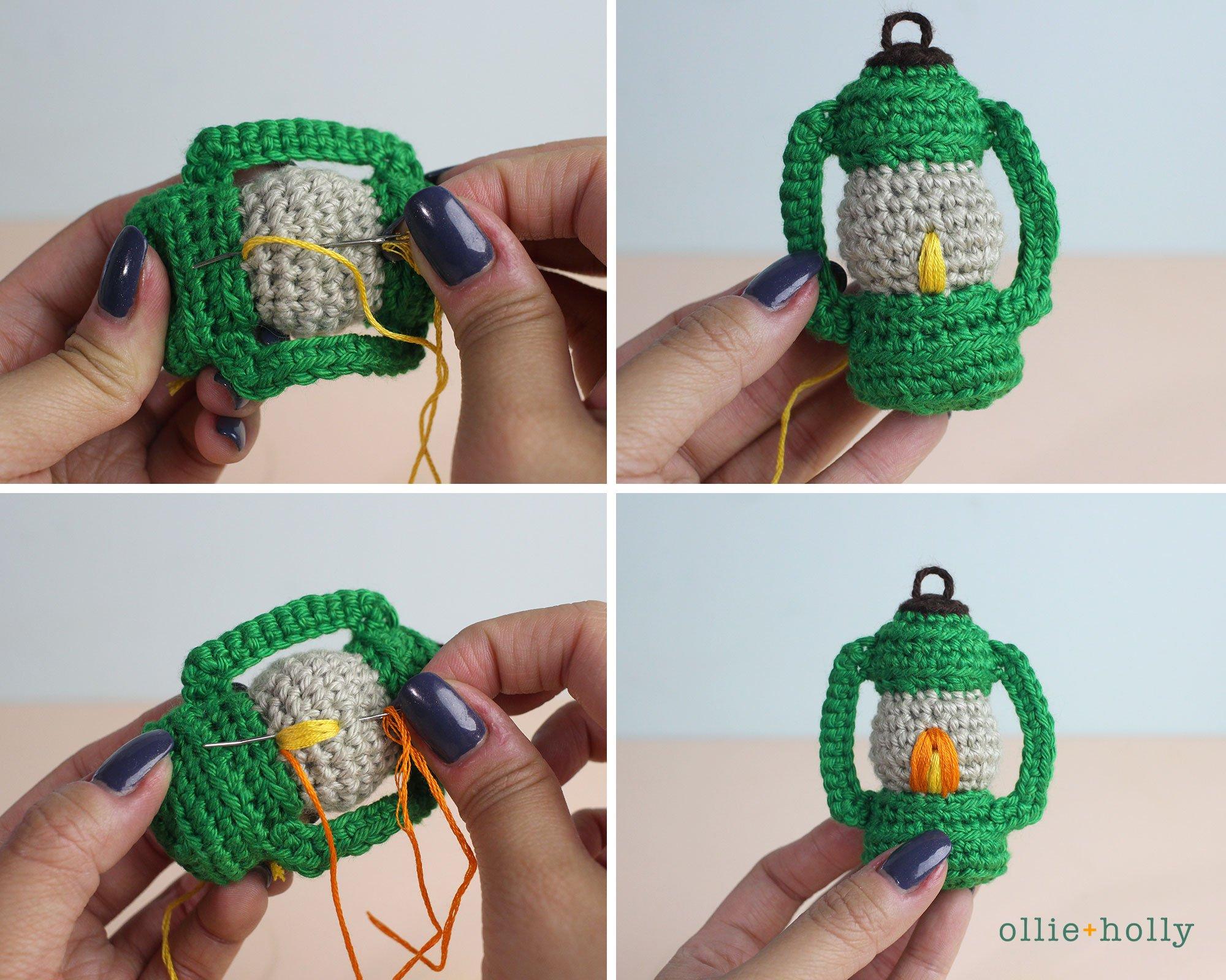 Free Vintage Camping Lantern Amigurumi Crochet Christmas Ornament Pattern Step 11
