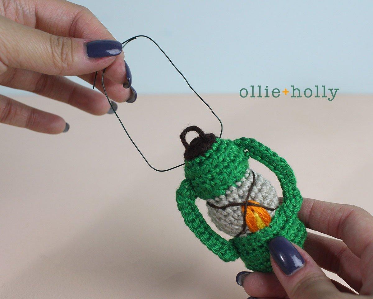 Free Vintage Camping Lantern Amigurumi Crochet Christmas Ornament Pattern Handles Step 1