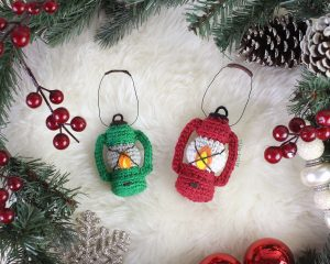 Free Vintage Camping Lantern Amigurumi Crochet Christmas Ornament Pattern Complete