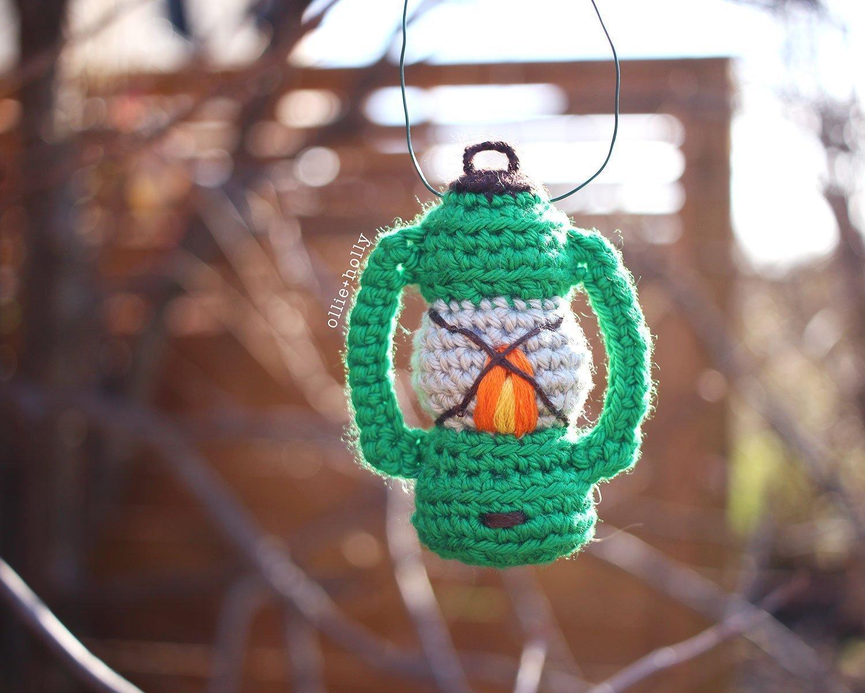Free Vintage Camping Lantern Amigurumi Crochet Christmas Ornament Pattern Hanging