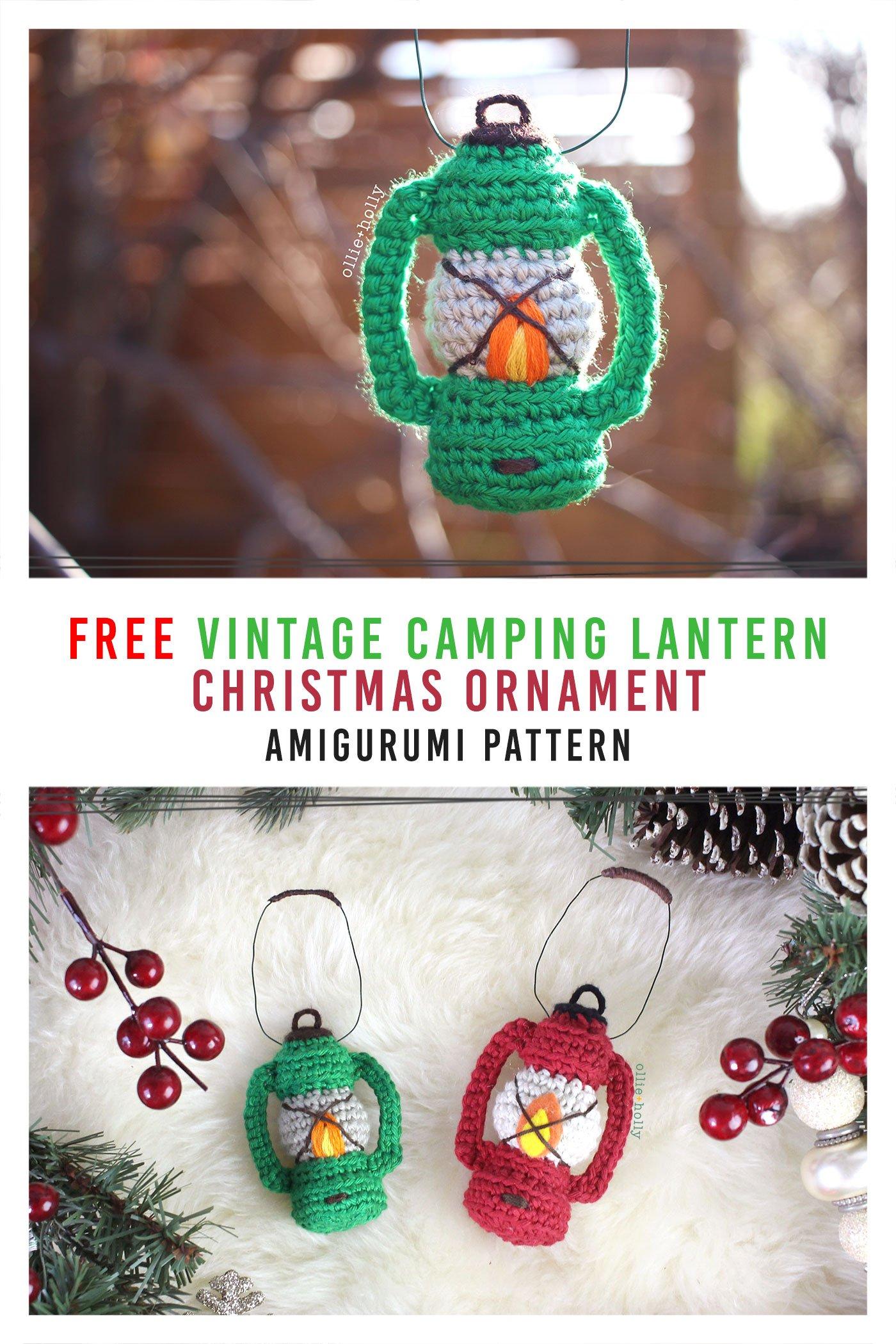 Free Vintage Camping Lantern Amigurumi Crochet Christmas Ornament Pattern