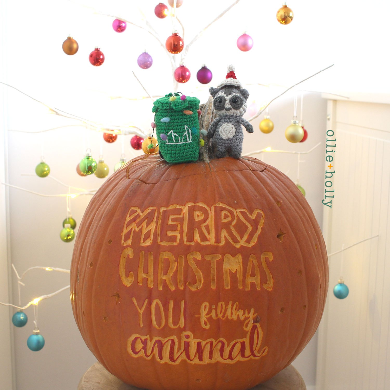 Christmas Holiday Toronto Raccoon and Toronto Garbage Green Bin Amigurumi Crochet Ornament Decoration WIth Pumpkin