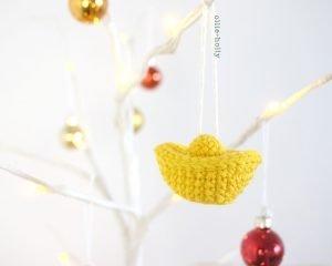 Free Jin Yuan Bao Gold Sycee Amigurumi Crochet Chinese New Year Ornament Pattern Complete