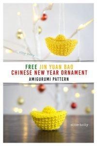 Free Jin Yuan Bao Gold Sycee Amigurumi Crochet Chinese New Year Ornament Pattern