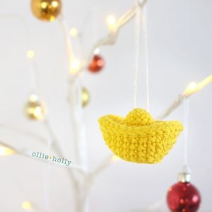 Jin Yuan Bao Gold Sycee Chinese New Year Ornament Amigurumi Crochet