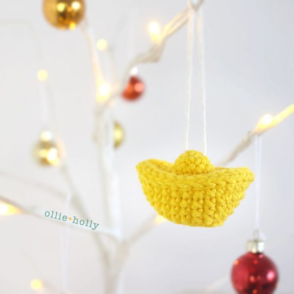 Jin Yuan Bao Gold Sycee Chinese New Year Ornament Amigurumi Crochet