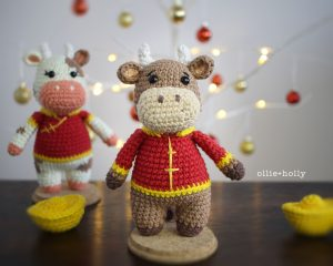 Free Year of the Ox Chinese Lunar New Year Amigurumi Crochet Pattern Brown