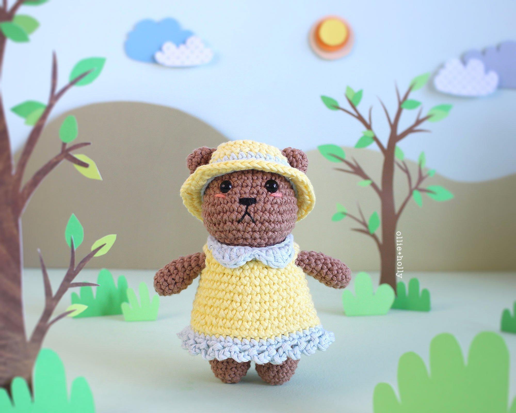 Free Bernadette the Bear Stuffed Animal Amigurumi Crochet Pattern Close Up