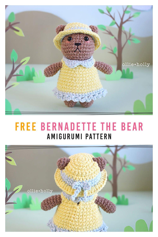 Free Bernadette the Bear Stuffed Animal Amigurumi Crochet Pattern