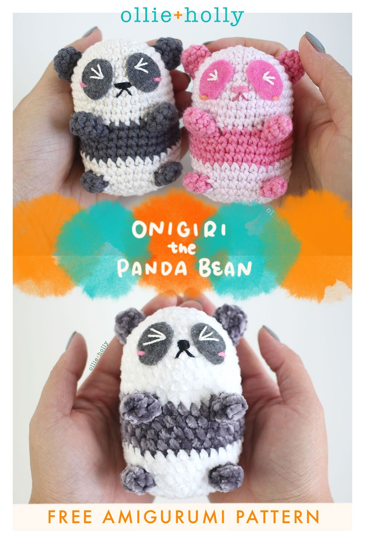 Free Onigiri The Stuffed Panda Bear Bean Amigurumi Crochet Pattern