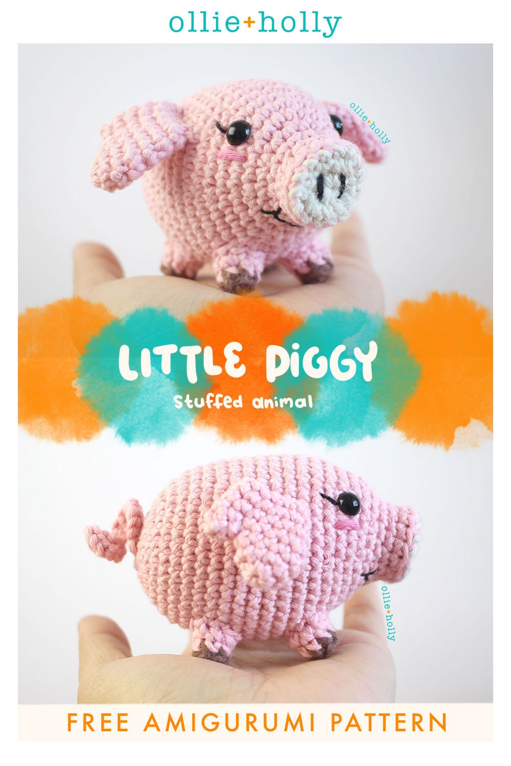 Free Little Piggy Stuffed Animal Amigurumi Crochet Pattern