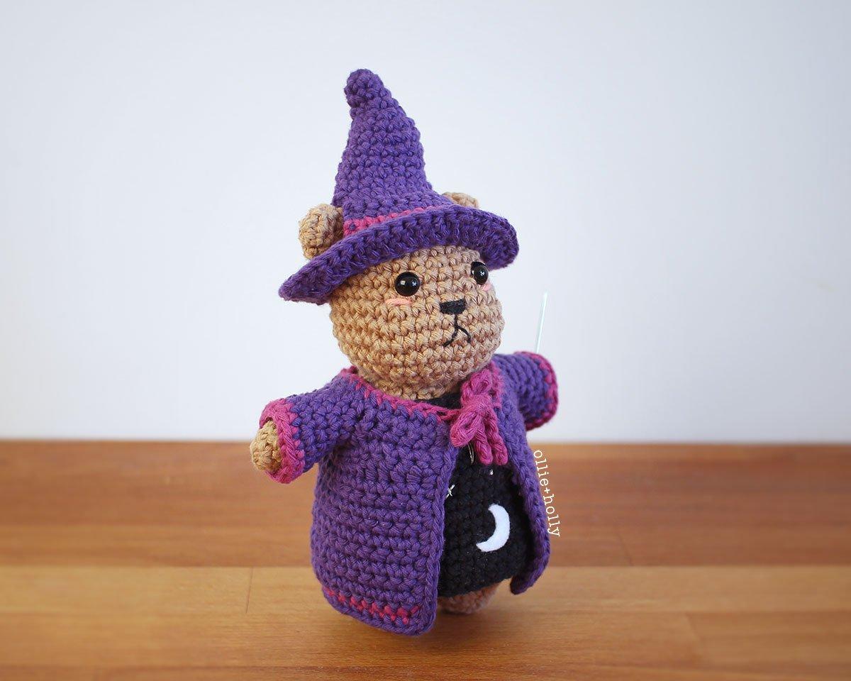 Free Witch Halloween Costume for Bernadette the Bear Stuffed Animal Amigurumi Crochet Pattern Complete