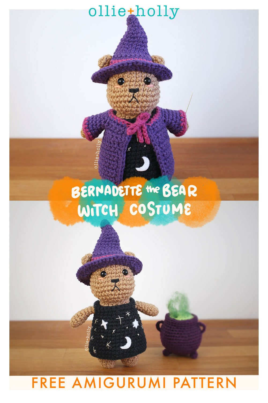 Free Witch Halloween Costume for Bernadette the Bear Stuffed Animal Amigurumi Crochet Pattern