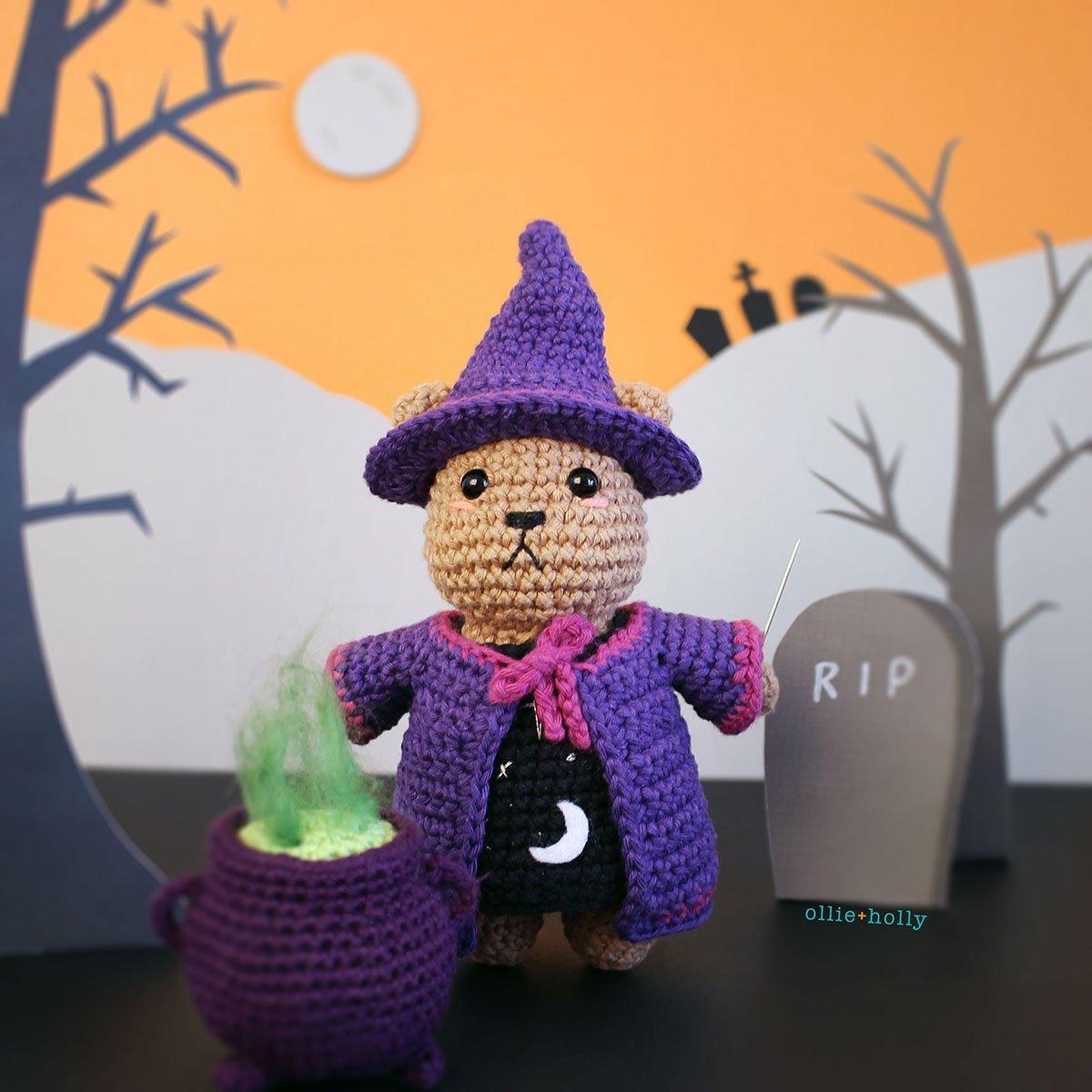 Free Witch Halloween Costume for Bernadette the Bear Stuffed Animal Amigurumi Crochet Pattern Background